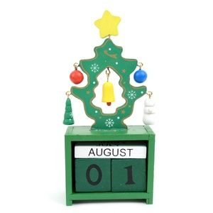 Green Christmas Tree Wooden Calendar Holiday Decor